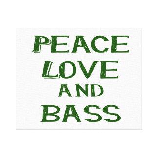 peace love and bass bernice green canvas print