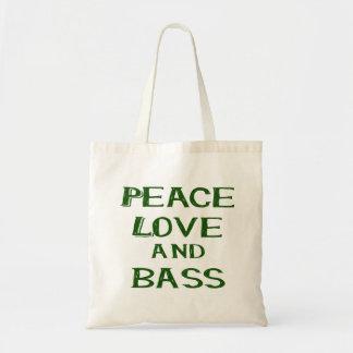 peace love and bass bernice green tote bag