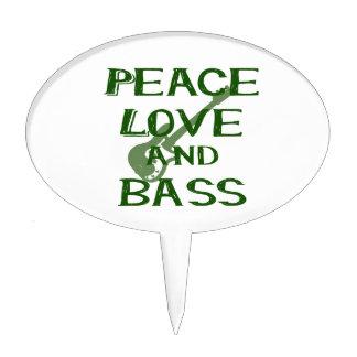 peace love and bass bernice green w guitar cake topper