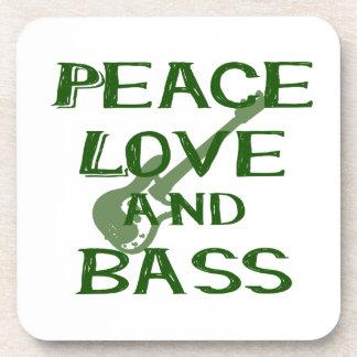 peace love and bass bernice green w guitar coasters