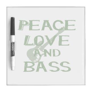 peace love and bass bernice green w guitar Dry-Erase board
