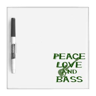 peace love and bass bernice green w guitar dry erase board