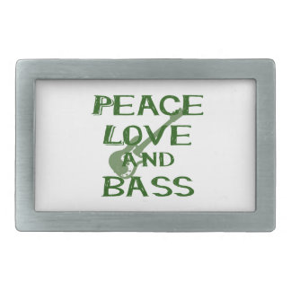 peace love and bass bernice green w guitar rectangular belt buckle