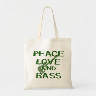 peace love and bass bernice green w guitar tote bag