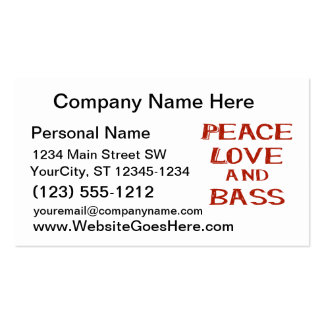 peace love and bass bernice red Double-Sided standard business cards (Pack of 100)