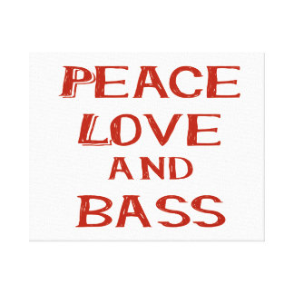 peace love and bass bernice red canvas print