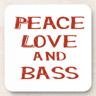 peace love and bass bernice red beverage coaster