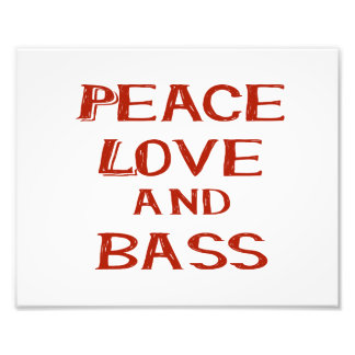 peace love and bass bernice red photo print