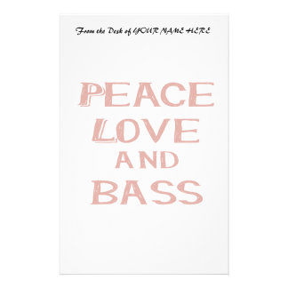 peace love and bass bernice red stationery