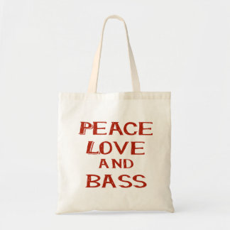 peace love and bass bernice red tote bag