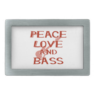 peace love and bass bernice red w guitar belt buckle