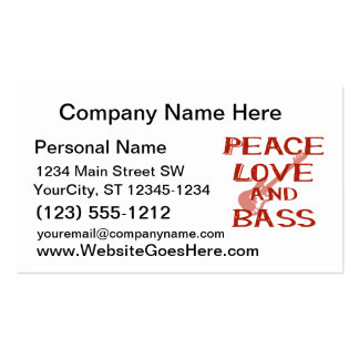 peace love and bass bernice red w guitar Double-Sided standard business cards (Pack of 100)