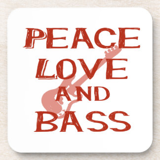 peace love and bass bernice red w guitar drink coasters