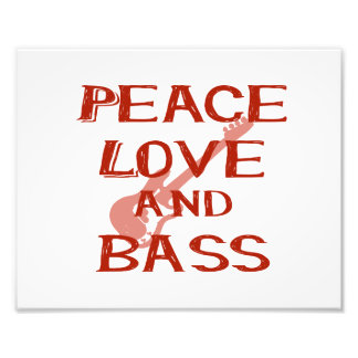 peace love and bass bernice red w guitar photo print