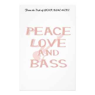peace love and bass bernice red w guitar stationery