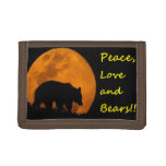 Peace , Love and Bears Tri-fold Wallet