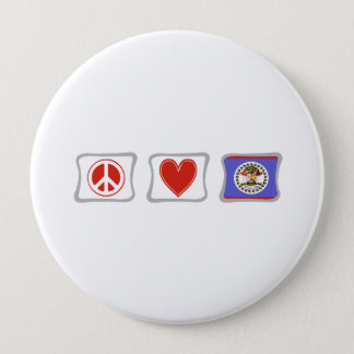 Peace Love and Belize Squares Button