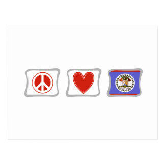 Peace Love and Belize Squares Postcard