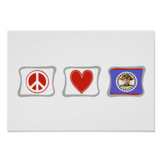 Peace Love and Belize Squares Poster