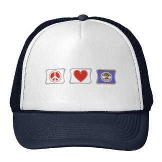 Peace Love and Belize Squares Trucker Hat