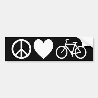 Peace Love and Bicycles Bumper Sticker
