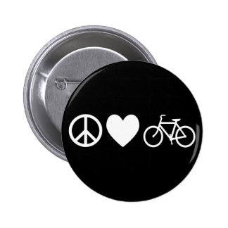 Peace Love and Bicycles 2 Inch Round Button