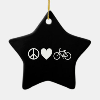 Peace Love and Bicycles Ceramic Ornament