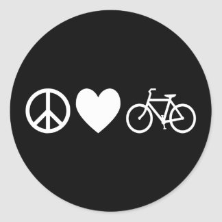 Peace Love and Bicycles Classic Round Sticker