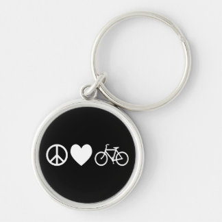 Peace Love and Bicycles Silver-Colored Round Keychain