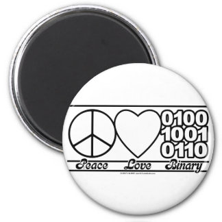 Peace Love and Binary 2 Inch Round Magnet