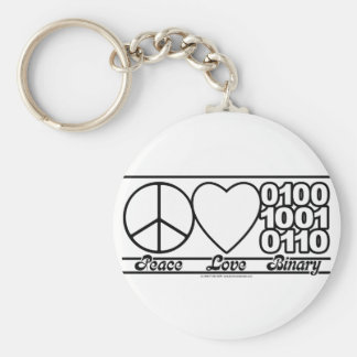 Peace Love and Binary Basic Round Button Keychain