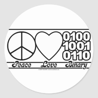 Peace Love and Binary Classic Round Sticker