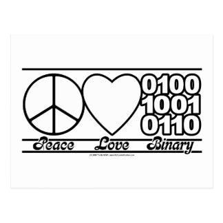 Peace Love and Binary Postcard