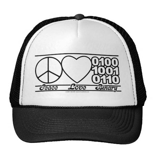 Peace Love and Binary Trucker Hat