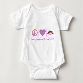 Peace, Love and Birthday Cake Baby Bodysuit