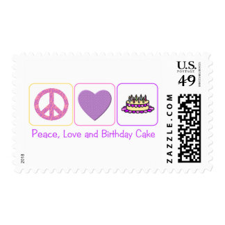 Peace, Love and Birthday Cake Postage Stamp