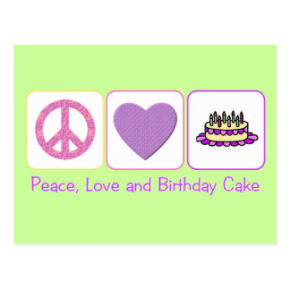 Peace, Love and Birthday Cake Postcard