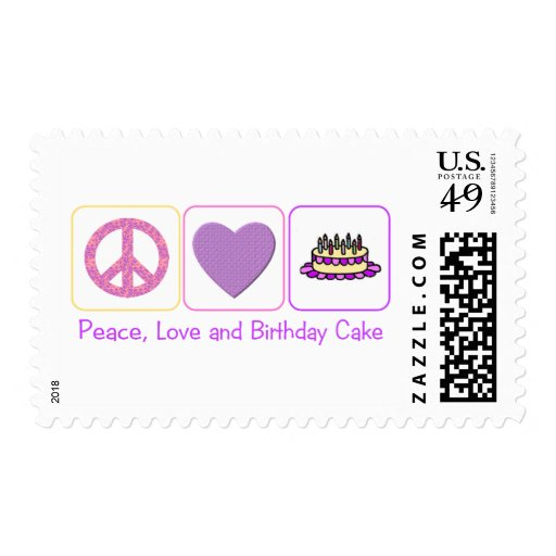 Peace, Love and Birthday Cake Stamp