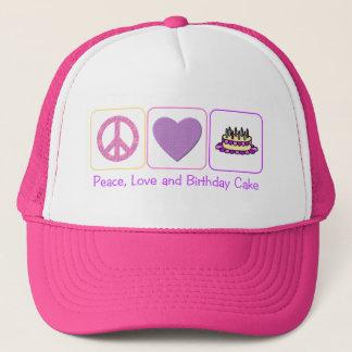 Peace, Love and Birthday Cake Trucker Hat