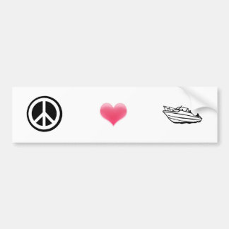 Peace, Love, and Boating Car Bumper Sticker