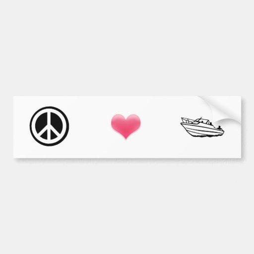 Peace, Love, and Boating Car Bumper Sticker