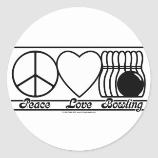 Peace Love and Bowling Classic Round Sticker