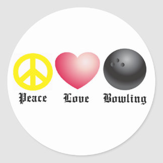 Peace, love, and bowling classic round sticker
