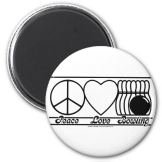 Peace Love and Bowling Refrigerator Magnet