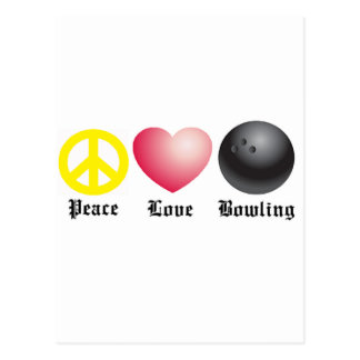 Peace, love, and bowling postcard