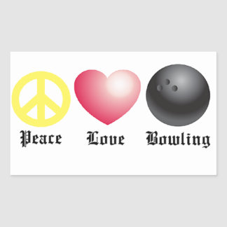 Peace, love, and bowling rectangular sticker