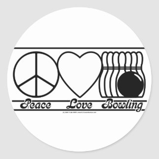 Peace Love and Bowling Round Stickers