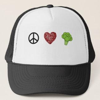 Peace, Love, and Broccoli Trucker Hat