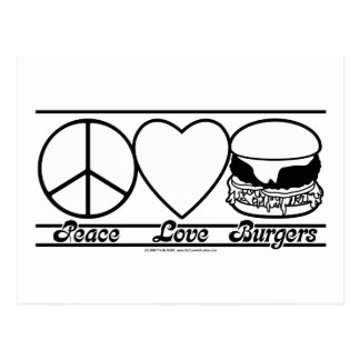 Peace Love and Burgers Postcard