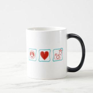 Peace Love and Camera 11 Oz Magic Heat Color-Changing Coffee Mug